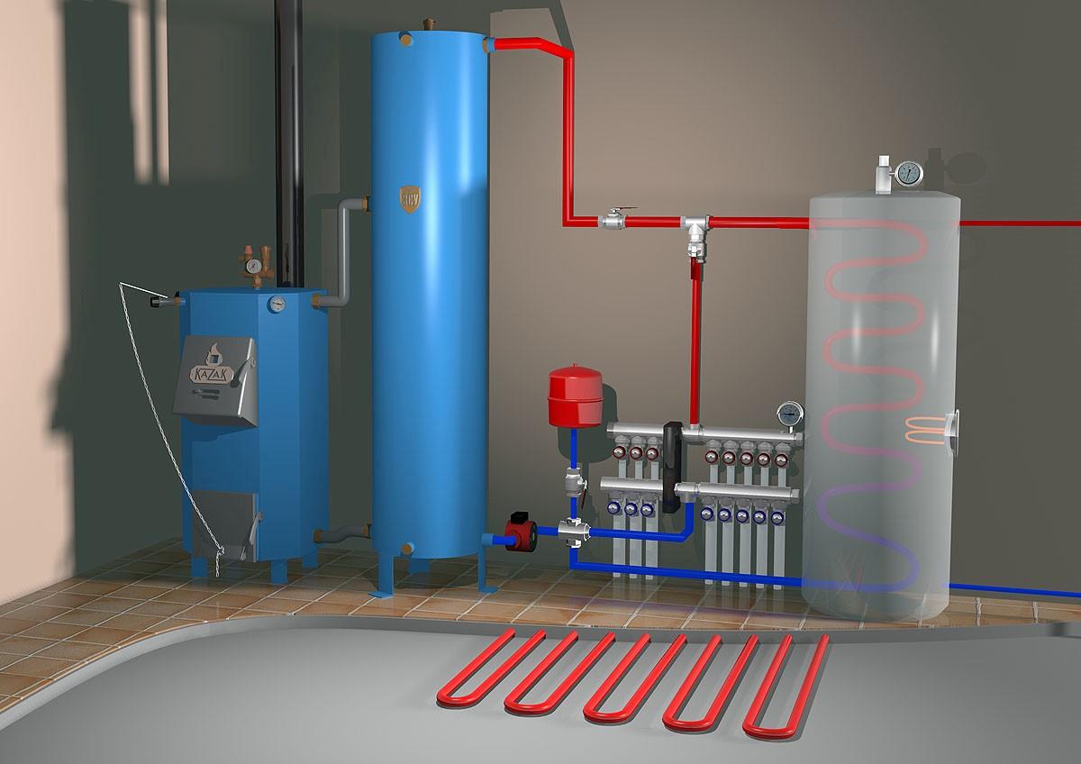 Система отопления и снабжения горячей водой