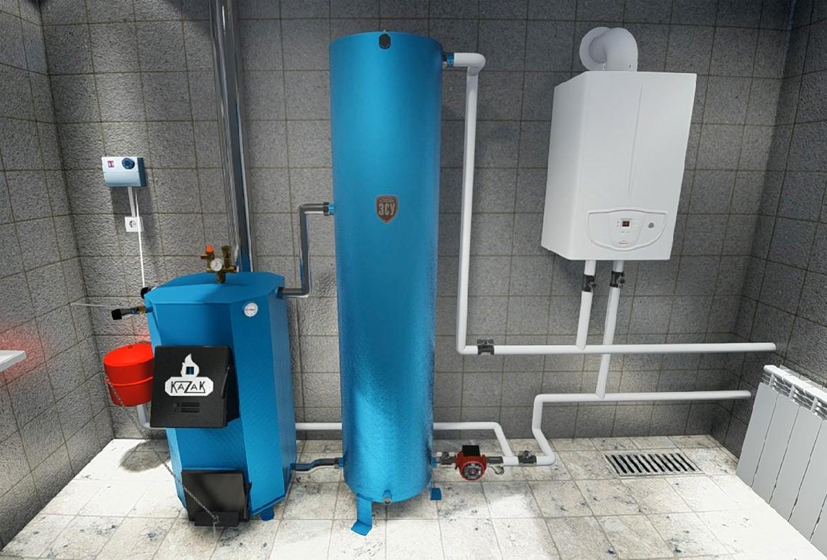 Современная система отопления с твердотопливным и газовым котлом